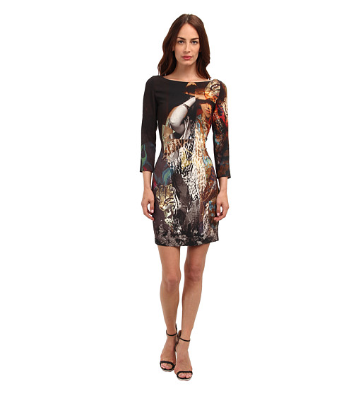 Just Cavalli - LS Printed Dress (Black) Women's Dress