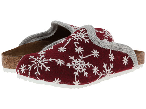 Birkenstock Kids - Amsterdam (Toddler/Little Kid/Big Kid) (Snow Stars Red Wool Felt) Girls Shoes