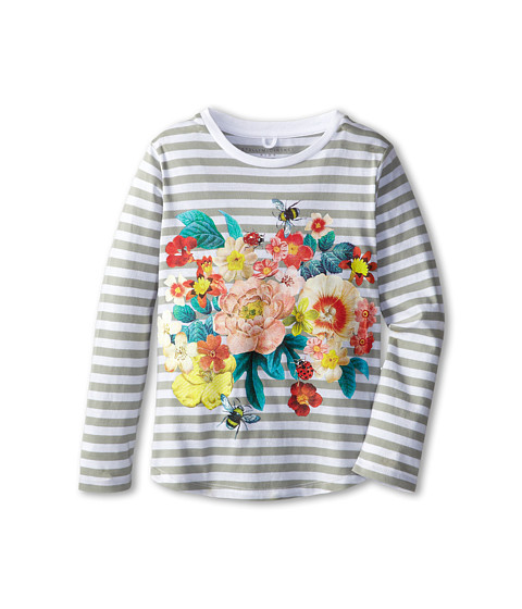 Stella McCartney Kids - Barley Girls L/S Stripe Tee w/ Floral Graphic (Toddler/Little Kids/Big Kids) (White/Multi) Girl's Long Sleeve Pullover