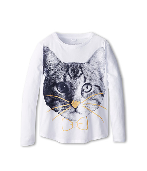 Stella McCartney Kids - Barley Girls L/S Tee w/ Cat (Toddler/Little Kids/Big Kids) (White) Girl's Long Sleeve Pullover