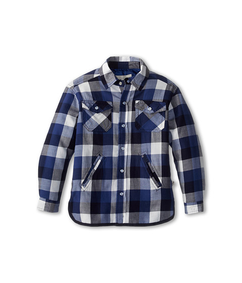 Stella McCartney Kids - Hunter Boys Plaid Woven Shirt (Toddler/Little Kids/Big Kids) (Blue Check) Boy's Long Sleeve Button Up