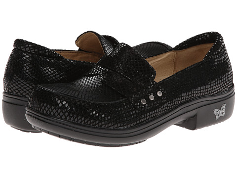 Alegria - Taylor Pro (Black Glossy Snake) Women's Slip on Shoes
