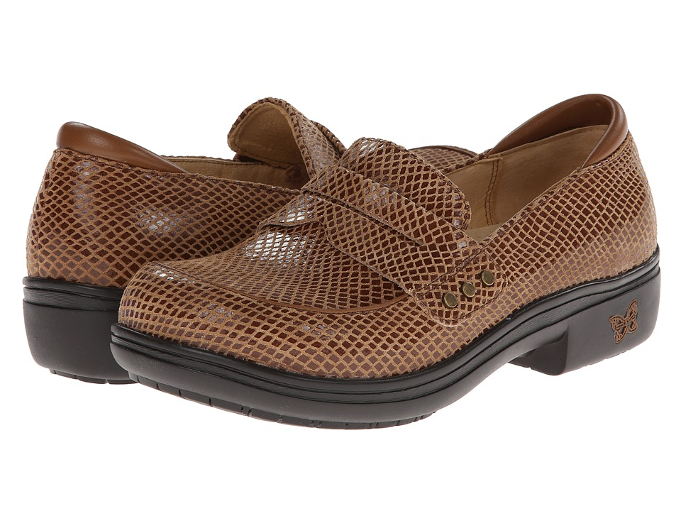 Alegria - Taylor Pro (Tan Glossy Snake) Women's Slip on Shoes