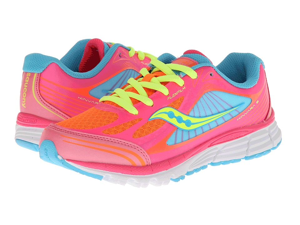 Saucony Kids - Kinvara 5 (Little Kid) (ViZiPRO Coral/Orange/Blue) Girls Shoes