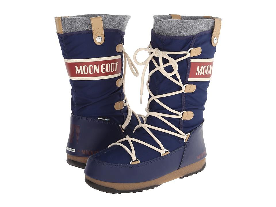 Tecnica - Moon Boot Monaco Felt (Blue) Women's Cold Weather Boots