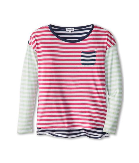 Apparel-Splendid Littles Stripe Mix L S Top (Big Kids) (Azalea Pistachio) Girl's Long Sleeve Pullover