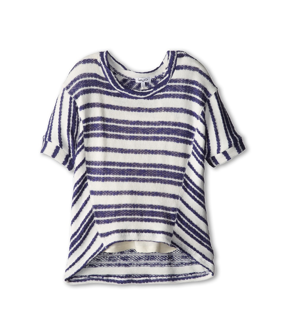 Splendid Littles - Variegated Pointelle Stripe Sweater (Big Kids) (Navy/White) Girl's Clothing