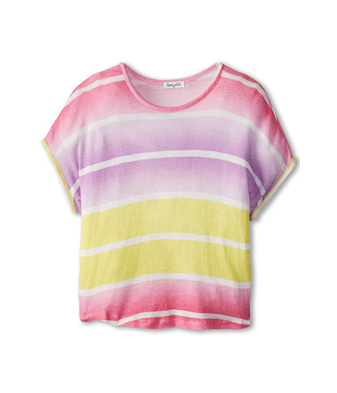 Splendid Littles - Ombre Printed Loose Knit S/S Top (Big Kids) (Pink/Yellow) Girl's Short Sleeve Pullover