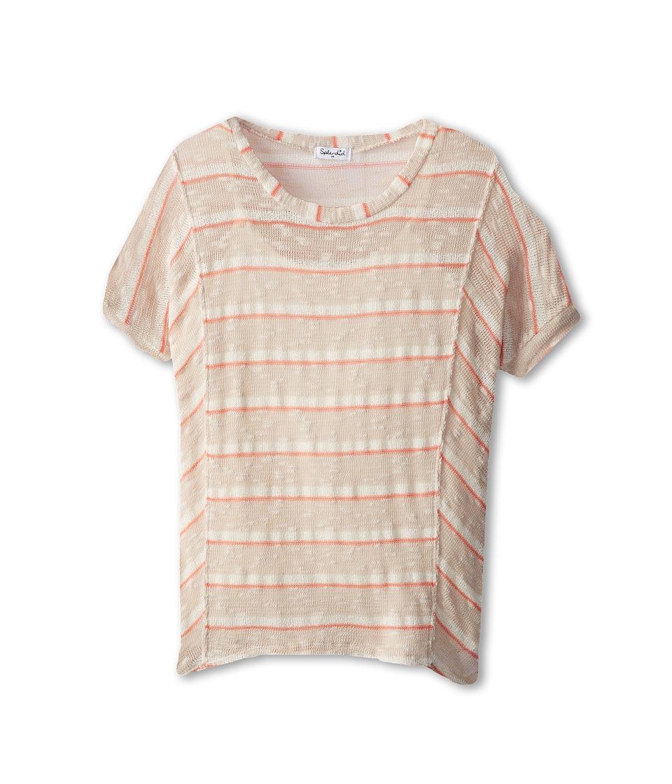Splendid Littles - Venice Loose Knit Dolman Top (Big Kids) (Natural/Khaki) Girl's Clothing