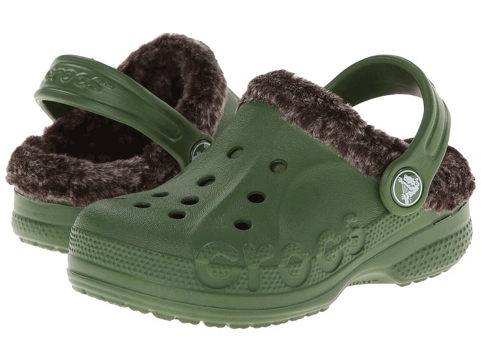 Crocs Kids - Baya Heathered Lined Clog (Toddler/Little Kid) (Seaweed/Mahogany) Kids Shoes