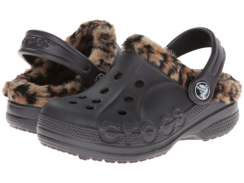 Crocs Kids - Baya Leopard Liner Clog (Toddler/Little Kid) (Onyx/Gold) Kids Shoes