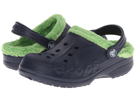 Crocs Kids - Baya Fleece Clog (Toddler/Little Kid) (Navy/Lime) Girls Shoes
