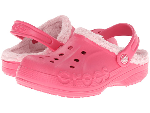 Crocs Kids - Baya Fleece Clog (Toddler/Little Kid) (Hot Pink/Petel Pink) Girls Shoes