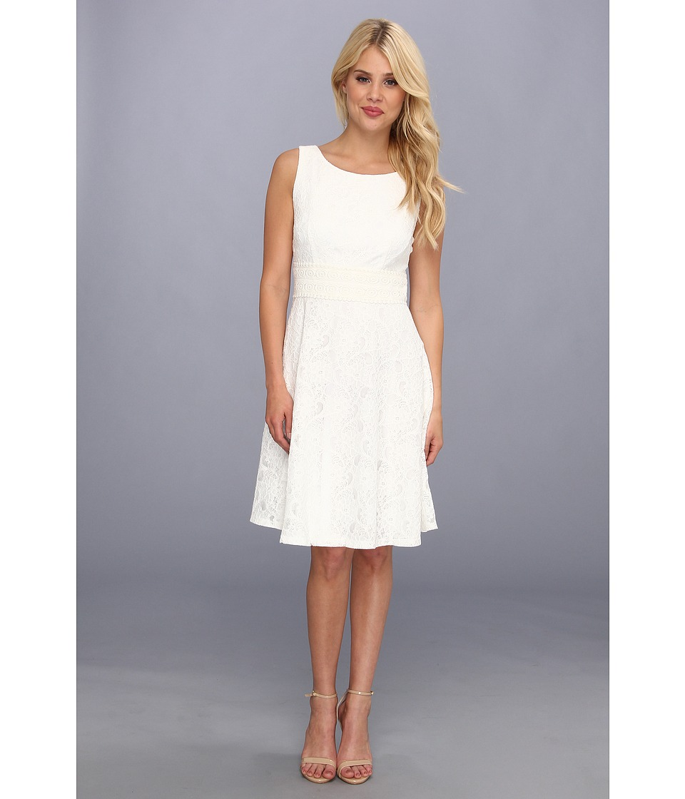 Jessica Howard Lace Inset Waist Dress w/ Full Skirt Womens Dress (White)