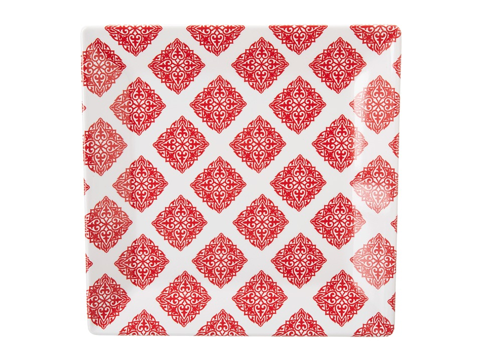 Q Squared - Square Plate Diamond Red (Red/White) Dinnerware Cookware