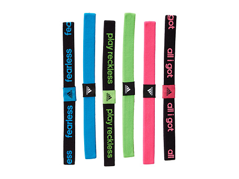 adidas - Sidespin Hairband 6-Pack (Black/Solar Blue/Solar Green/Solar Pink/White) Headband