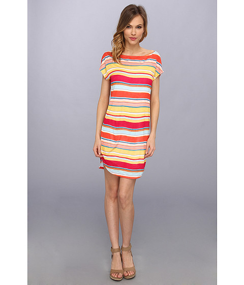 Michael Stars - Super Happy Stripe Boatneck Dress (Chili) Women's Dress