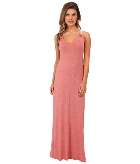 LAmade - Micro Stripe Halter Rope Maxi Dress (Red) Women