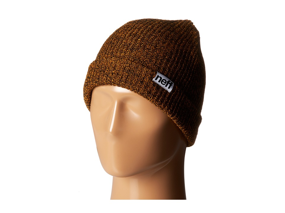 Neff - Fold Heather Beanie (Black/Orange) Beanies