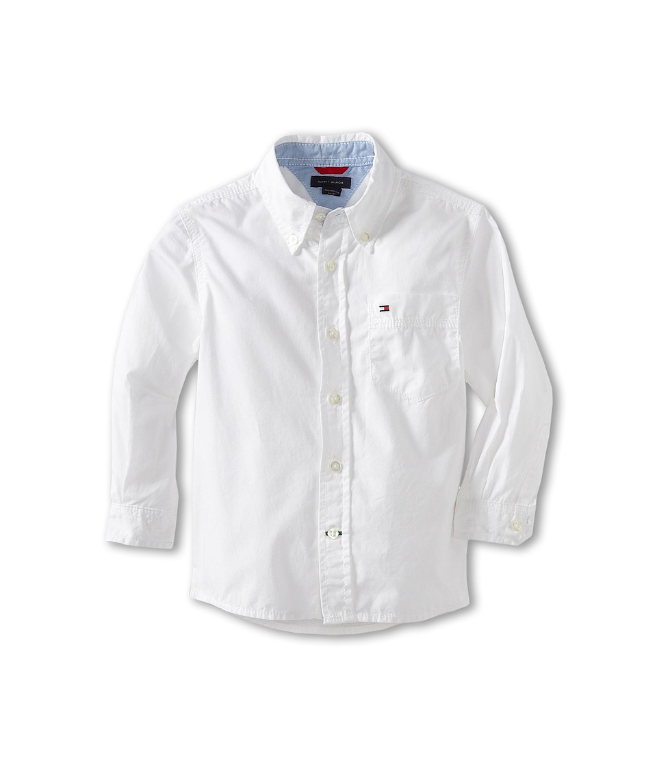 Tommy Hilfiger Kids - Classic L/S Woven Shirt (Toddler/Little Kid) (Classic White) Boy's Long Sleeve Button Up