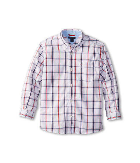 Tommy Hilfiger Kids - Samuel Plaid Shirt (Toddler/Little Kids) (Classic White) Boy's Long Sleeve Button Up
