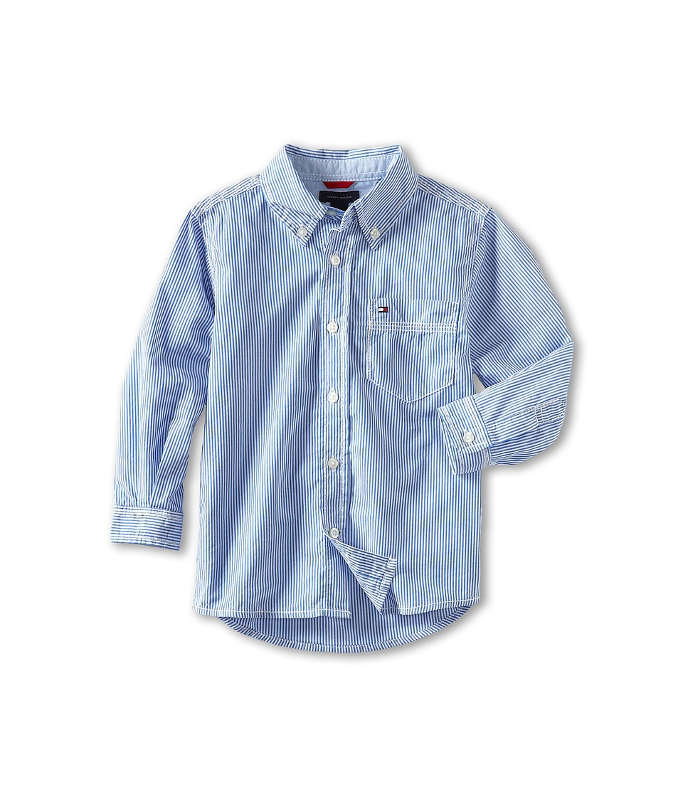 Tommy Hilfiger Kids - Tommy Stripe Shirt (Toddler/Little Kids) (Strong Blue) Boy's Long Sleeve Button Up