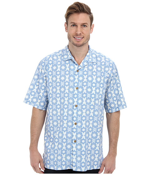 Tommy Bahama - Tile Effect S/S Camp Shirt (Sailfish) Men's Short Sleeve Button Up