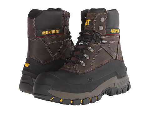 Caterpillar - Flexshell WP Steel Toe (Black Coffee Muddy River) Men's Work Lace-up Boots