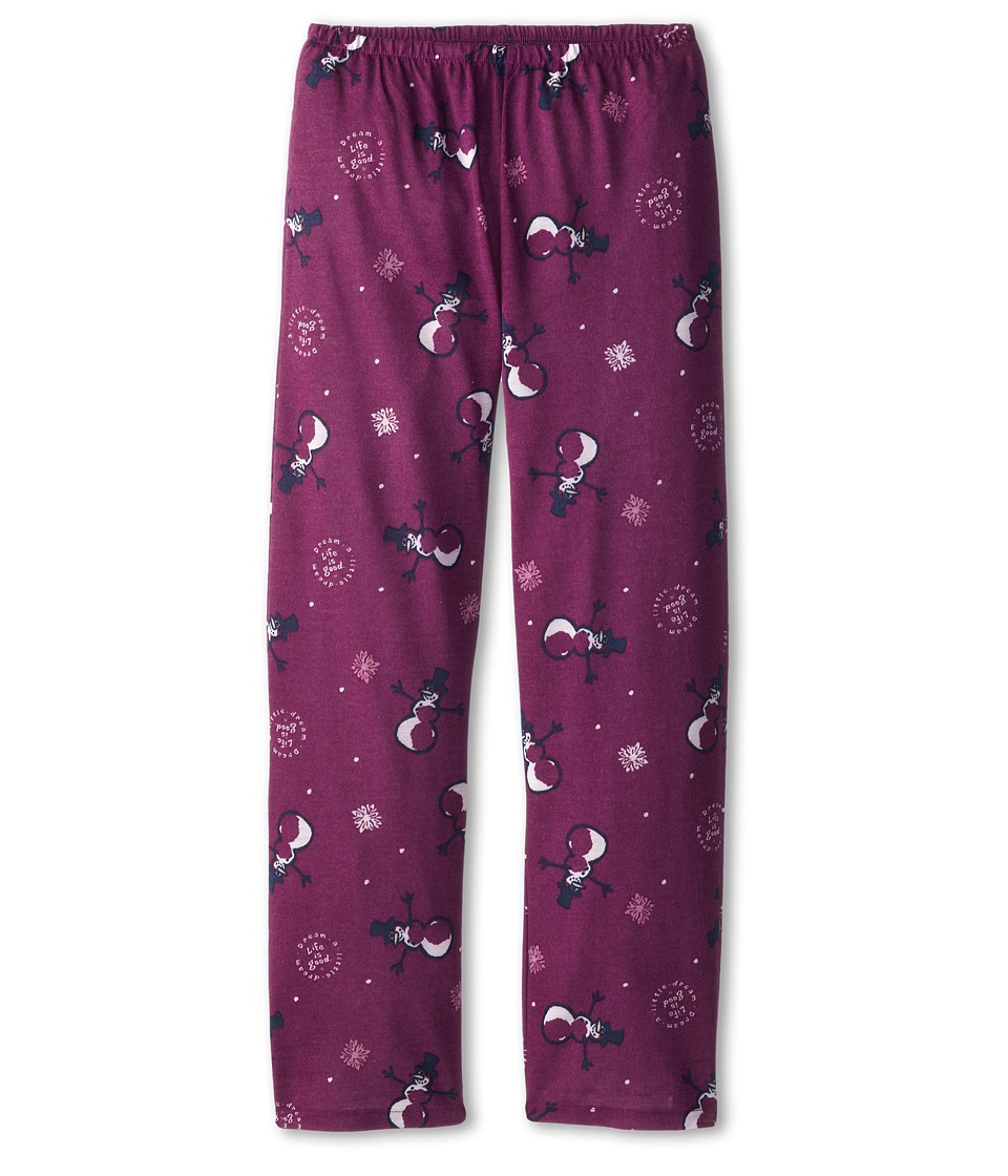 Life is good Kids - Snowman Sleep Pant (Toddler/Little Kid/Big Kid) (Perfect Plum) Girl's Pajama