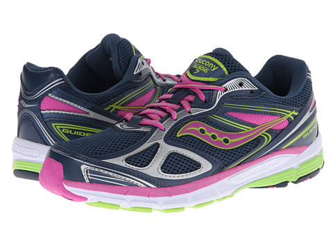 Saucony Kids - Guide 7 (Big Kid) (Navy/Magenta/Green) Girls Shoes