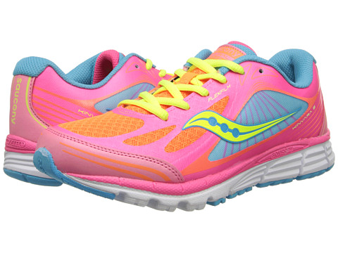 Saucony Kids - Kinvara 5 (Big Kid) (ViZiPRO Coral/Orange/Blue) Girls Shoes