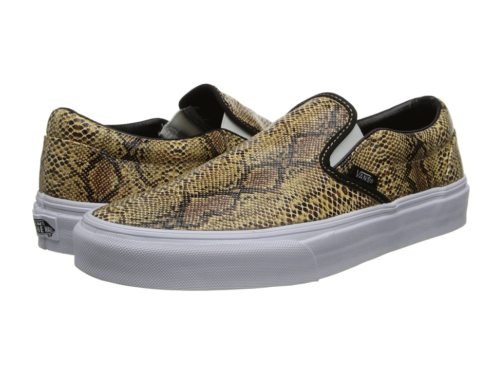 Vans - Classic Slip-On ((Leather/Snake) Gold) Skate Shoes