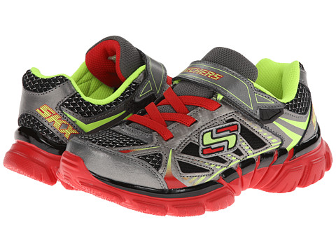 SKECHERS KIDS - Tough Trax (Little Kid/Big Kid) (Gunmetal/Red) Boy