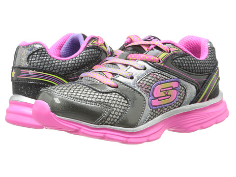 SKECHERS KIDS - Magnetics (Little Kid/Big Kid) (Gunmetal/Pink) Girls Shoes