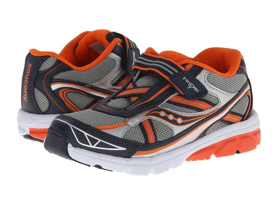 Saucony Kids - Baby Ride 7 (Toddler/Little Kid) (Grey/Navy/Orange) Boys Shoes