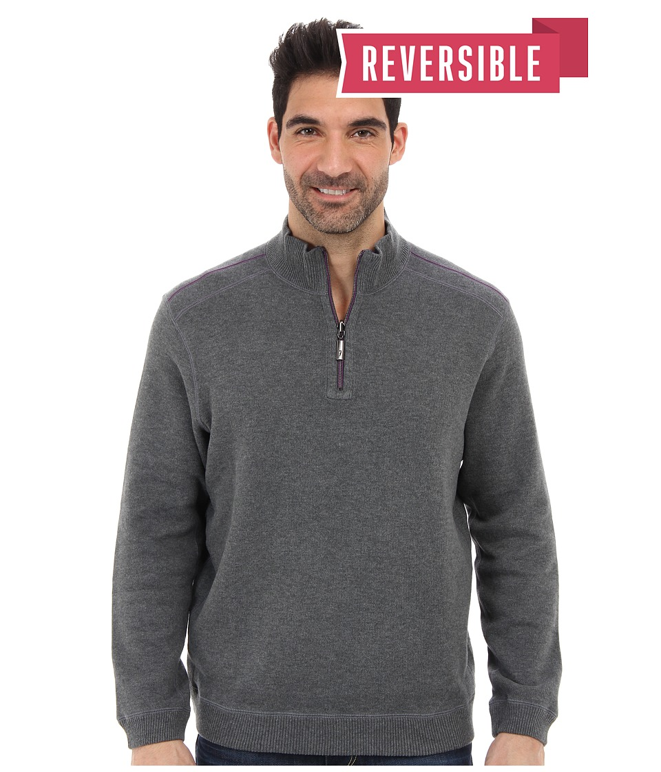Tommy Bahama - New Flip Side Pro Reversible Half Zip Sweatshirt (Fog Grey Heather) Men's Clothing