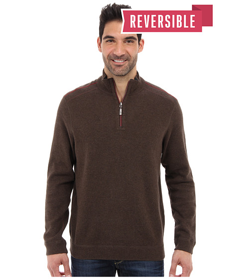 Tommy Bahama - New Flip Side Pro Reversible Half Zip Sweatshirt (Light Pure Chocolate Heather) Men