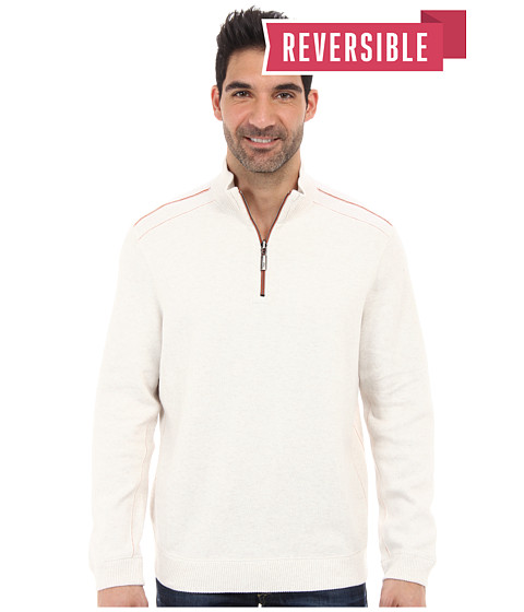 Tommy Bahama - New Flip Side Pro Reversible Half Zip Sweatshirt (Coconut Cream) Men
