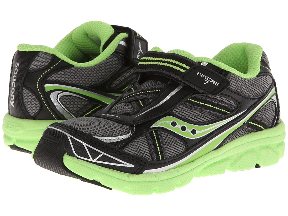 Saucony Kids - Baby Ride 7 (Toddler/Little Kid) (Grey/Black/Slime) Boys Shoes