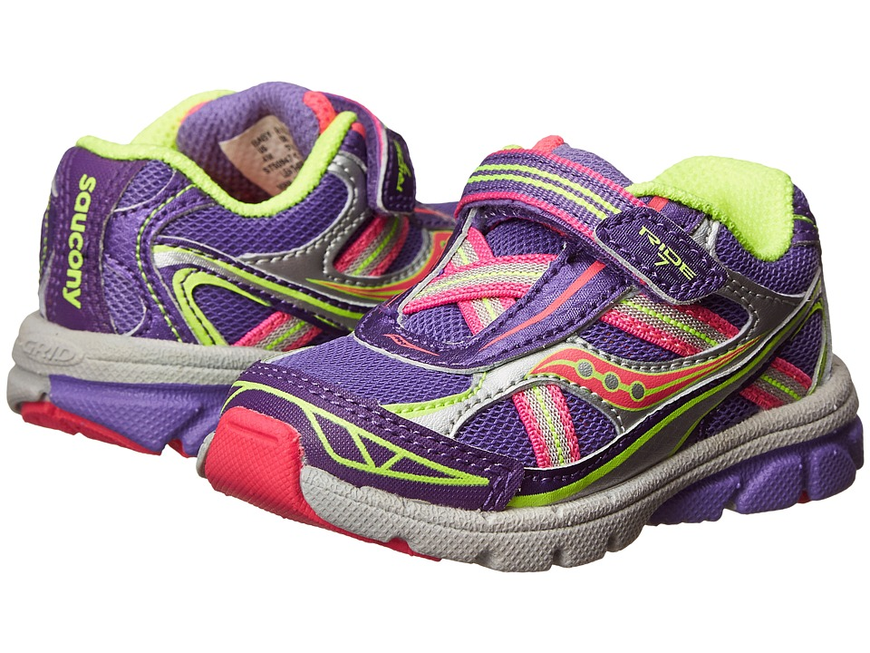 Saucony Kids - Baby Ride 7 (Toddler/Little Kid) (Purple/Silver) Girls Shoes