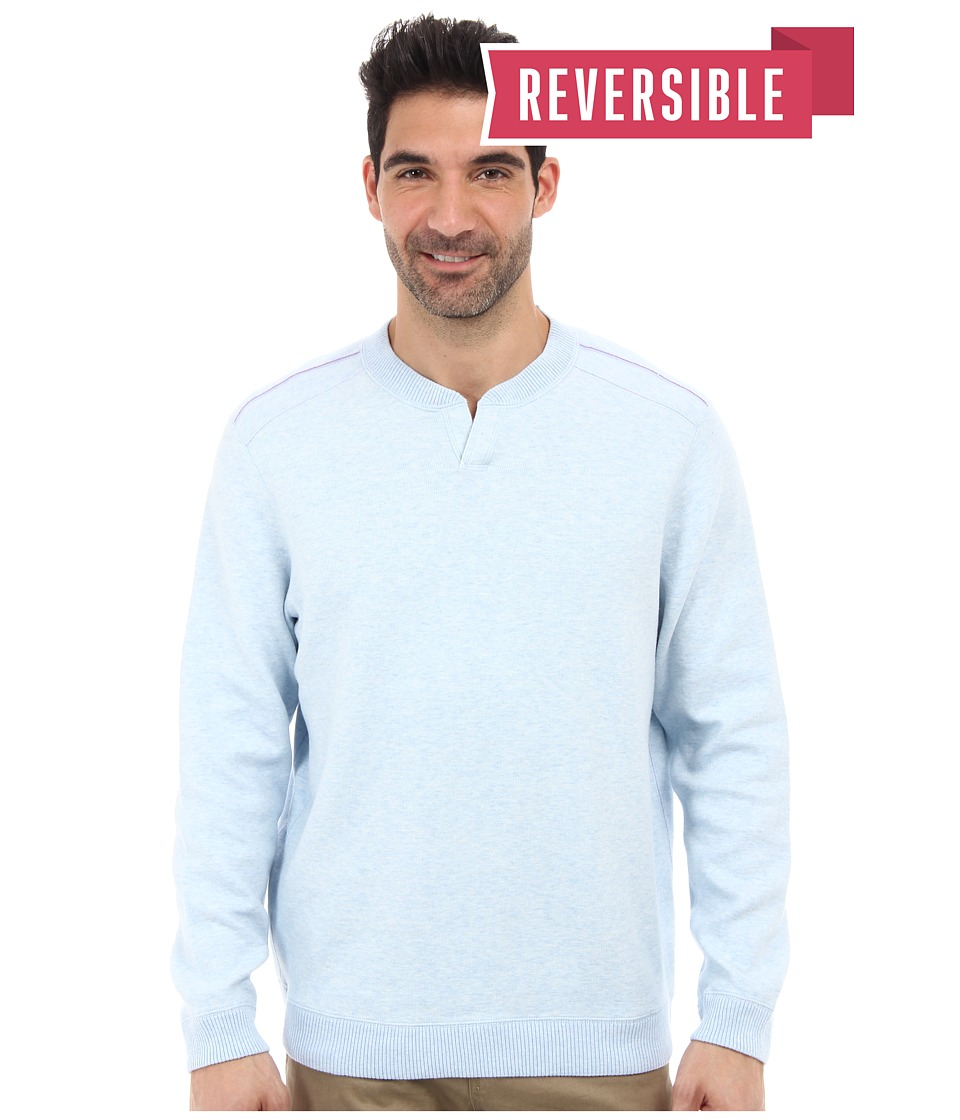 Tommy Bahama - New Flip Side Pro Reversible Abaco Sweatshirt (Artic Ice Heather) Men