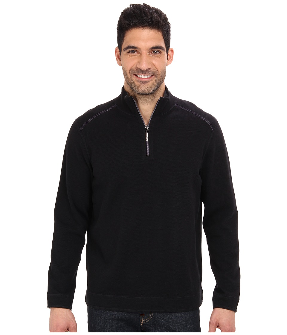 Tommy Bahama - Flip Side Pro Reversible Stripe Half Zip Sweatshirt (Black) Men's Long Sleeve Pullover