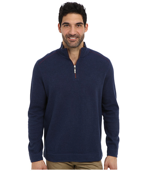 Tommy Bahama - Flip Side Pro Reversible Stripe Half Zip Sweatshirt (Deep Tahoe Heather) Men's Long Sleeve Pullover