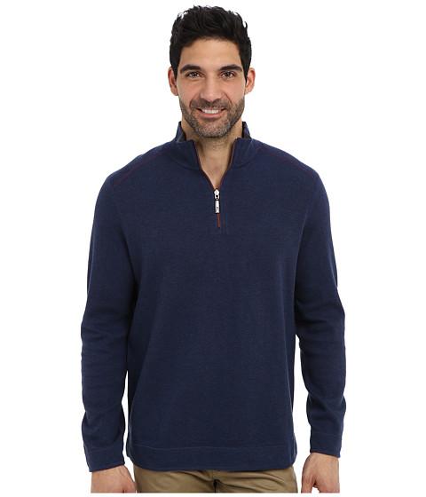 Tommy Bahama - Flip Side Pro Reversible Stripe Half Zip Sweatshirt (Deep Tahoe Heather) Men's Long Sleeve Pullover