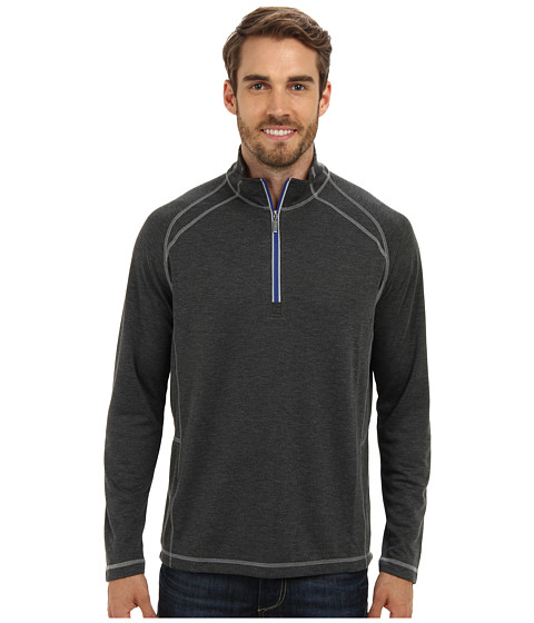 Tommy Bahama - New Firewall Half Zip Sweatshirt (Charcoal) Men