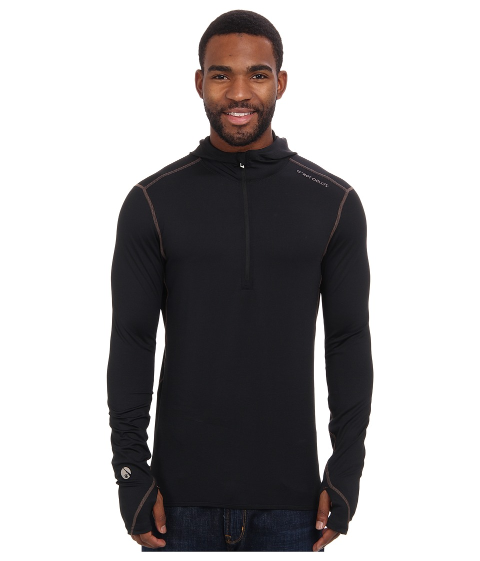 Hot Chillys - Micro-Elite Chamois 8K Hooded Zip Top (Black) Men's Long Sleeve Pullover