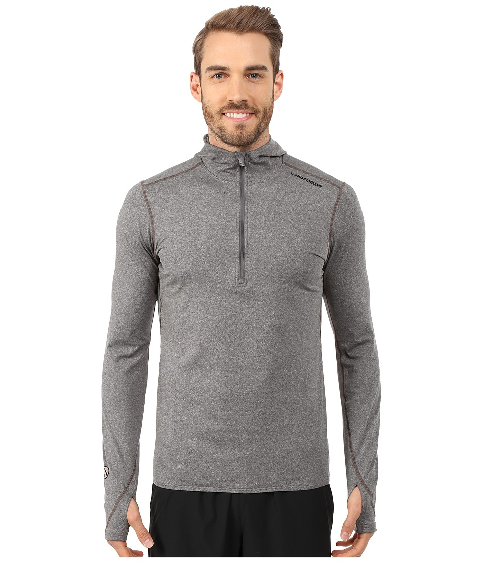 Hot Chillys - Micro-Elite Chamois 8K Hooded Zip Top (Granite) Men's Long Sleeve Pullover