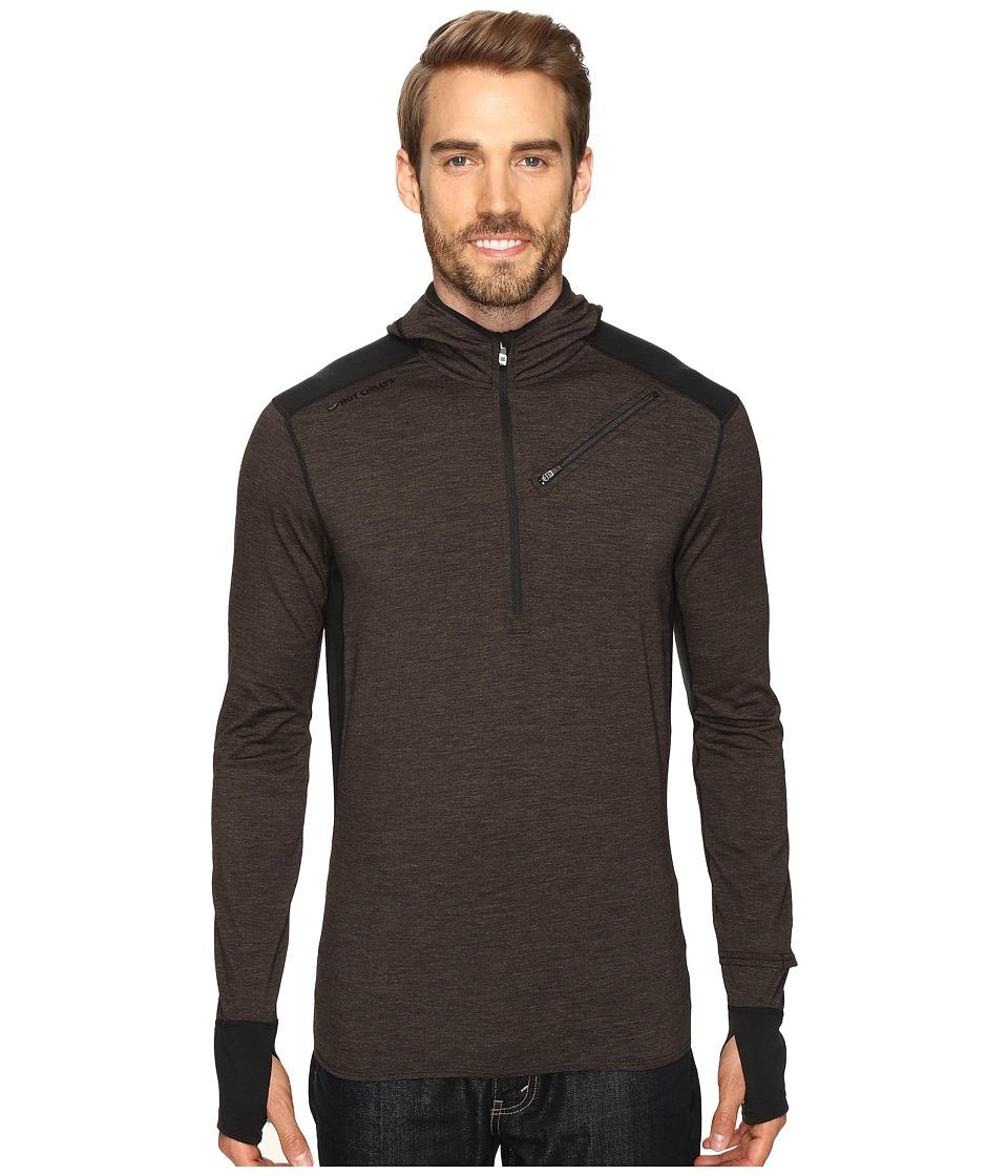 Hot Chillys - Wool Hooded Pullover (Black/Black) Men's Sweatshirt