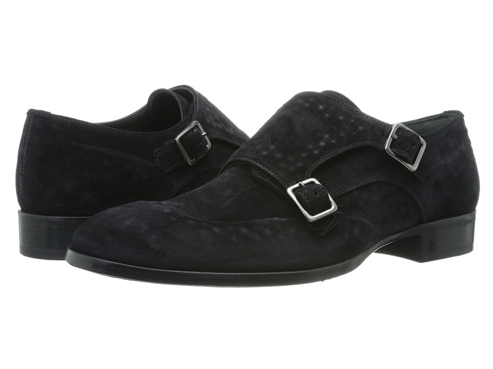 Alexander McQueen - Studded Double Buckle Monk Shoe (Black) Men's Shoes