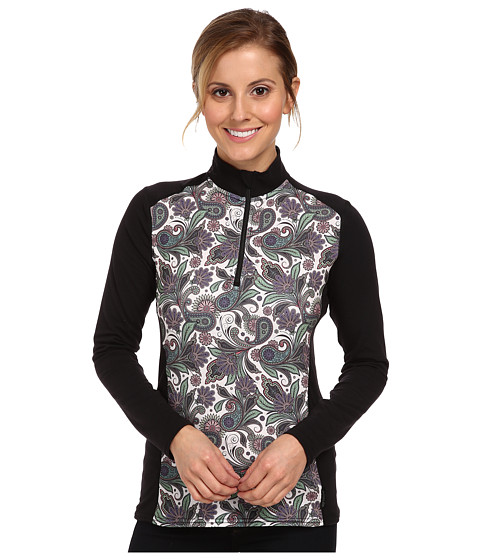 Hot Chillys - MTF Print Zip-T (Paisley/Black) Women's Long Sleeve Pullover